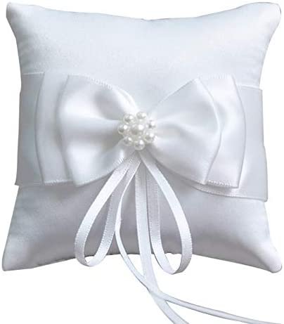 Couture White Ring Bearer Pillow  Embroidered Beaded Wedding Pillow OOAK White RIng Cushion Bridal Pillow Silver Ring Pillow