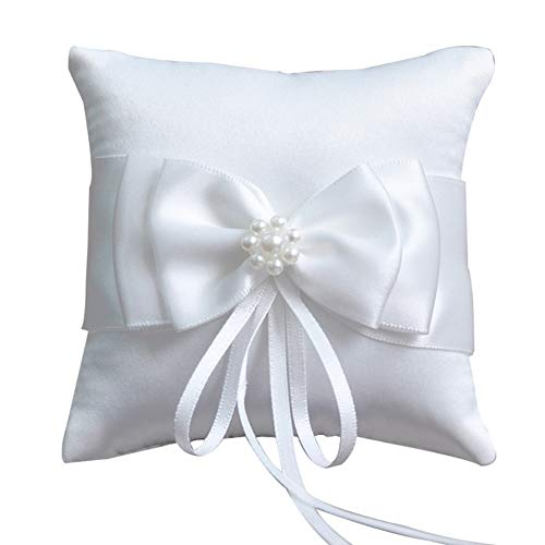 - Little World Ring Pillow Pearls, Decor Bridal Wedding Ring Bearer Pillow, 7.8 Inch x 7.8 Inch (White)