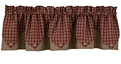 Park Designs Sturbridge Wine Lined Point Valance Curtain 72 Inches Wide By 15 Inches Tall