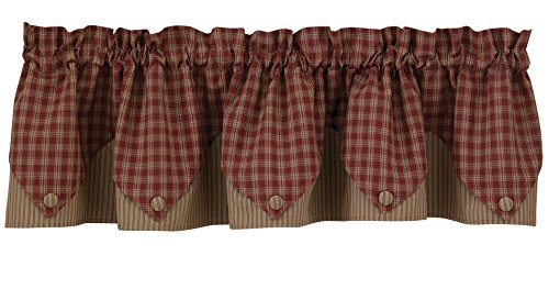 Sturbridge Lined Point Valance – Wine (72″ wide x 15″ long)