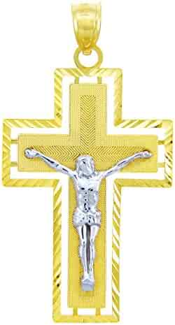 Solid 14k Two-Tone Gold Roman Cross Crucifix Pendant