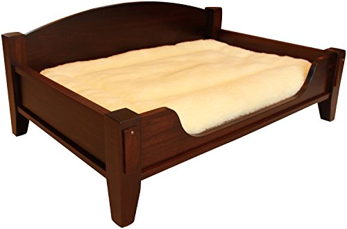 Deluxe Elevated Solid Wood Dog Bed and Cushion - 43 x 29