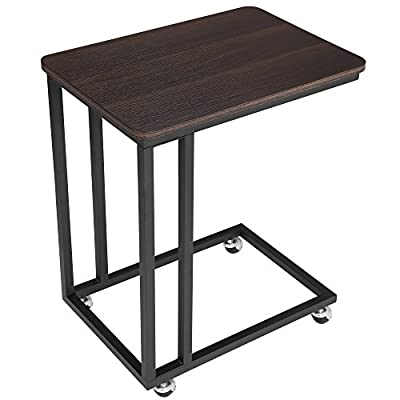 SONGMICS Mobile Snack Table Sofa Side Table for Coffee or Laptop with Metal Frame and Casters Modern Piece