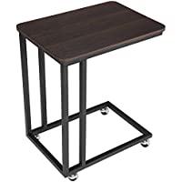SONGMICS Mobile Snack Table Sofa Side Table for Coffee or Laptop with Metal Frame and Casters Modern Piece ULNT50Z