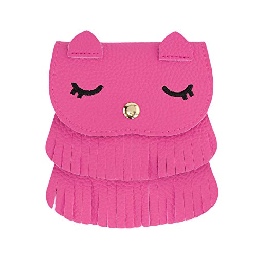 SteamedBun Girls Bags and Purses for Kids Crossbody Mini Halloween Owl Wallet with Tassel (Hot pink_large) by SteamedBun
