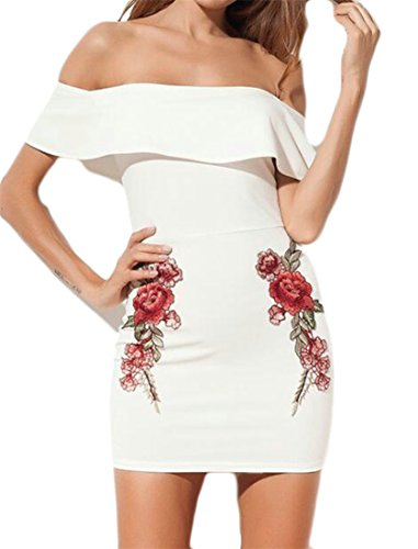 Cromoncent Femmes Bodycon Embroideried Peplum Hors Épaule Chaud Sexy Mini-robe Blanche