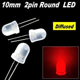 50pcs x red 10mm Round Diffused LED Light 2pin red 10mm Diffused LED lamp light red