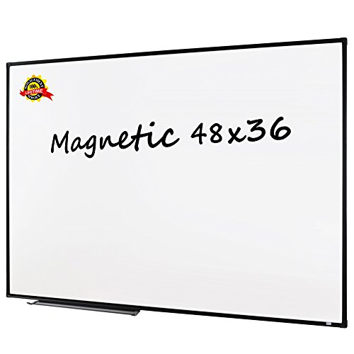 Lockways Magnetic Whiteboard White Board - Dry Erase Board 48 x 36, 3 Dry Erase Markers, 8 Magnets, Black Aluminium Frame for Home, Office, School (Solid 48' Frame)