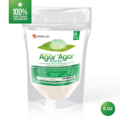 LIVING JIN Agar Agar Powder 4OZ (or 12oz | 28oz) : Vegetable Gelatin Powder Dietary Fiber [100% Natural seaweed + Non GMO + VEGAN + VEGETARIAN + KOSHER + HALAL]