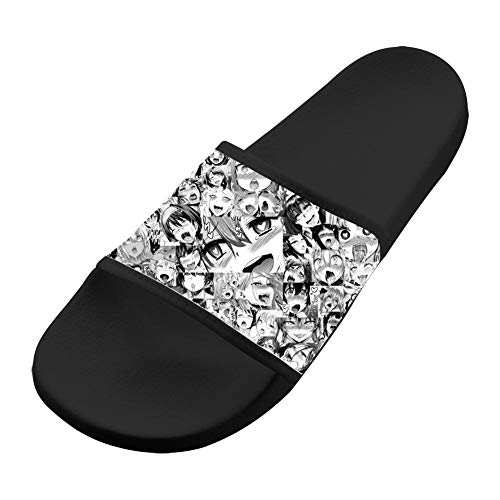 Anime Adult Shoes - Adult 3D Print Indoor/Outdoor Slippers,Ahegao Hentai Girls Anime Flat Sandals Shoes Black 7 B(M) US