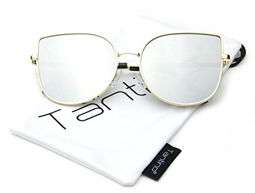 Fashion Designer Flat Mirror Lens Sunglasses (Silver, UV400) ()