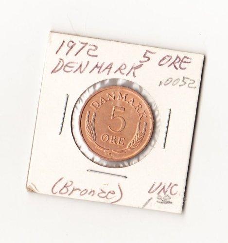 Denmark 1972 - 5 Ore Bronze Coin uncl KM484.2