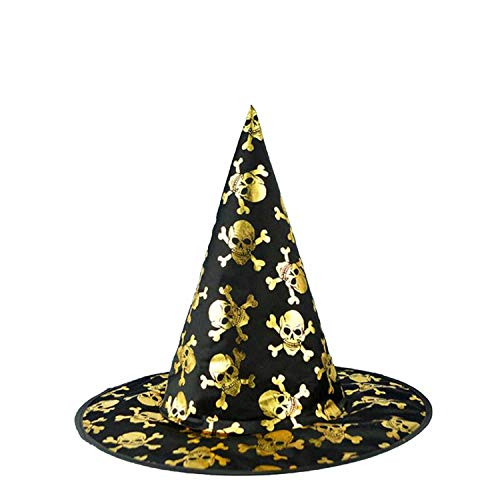 Spiderweb Skull Witch Hat Wizard Hats Caps Adults Carnival Accessories Party Christmas Halloween,Gold Skull -