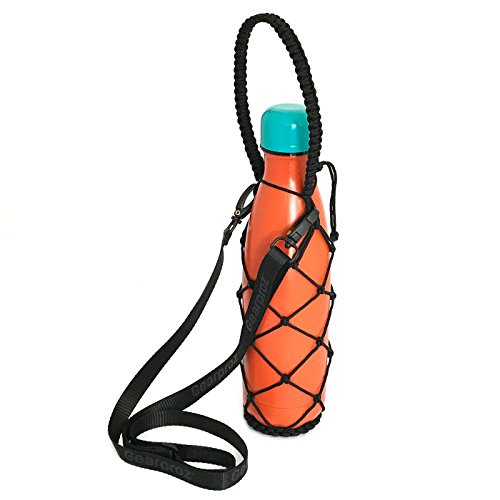 Stylish Water Bottle Holder + Strap - For S'well, Simple Modern, Manna and Mira Bottles 9, 17, 25 oz - Handcrafted, Durable Net - Frees Up Hands, Prevents Dropping and Dents (Black w/Strap, 17oz)