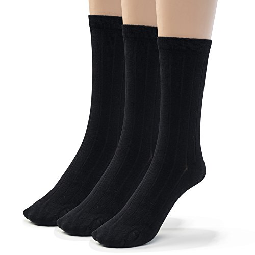 Silky Toes 3 Pairs Mens Bamboo Ribbed Dress Socks, Casual Basic Socks (9-11, Black (3 Pairs))