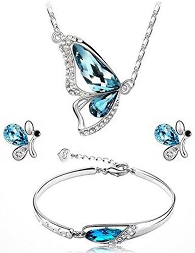 Asatr 3PC Set Women Rhinestone Butterfly Pendant Choker Necklace Earrings Bracelet Set Jewelry Sets
