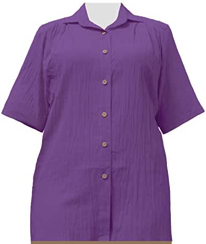 A Personal Touch Women's Plus Size Purple Gauze Short Sleeve Tunic