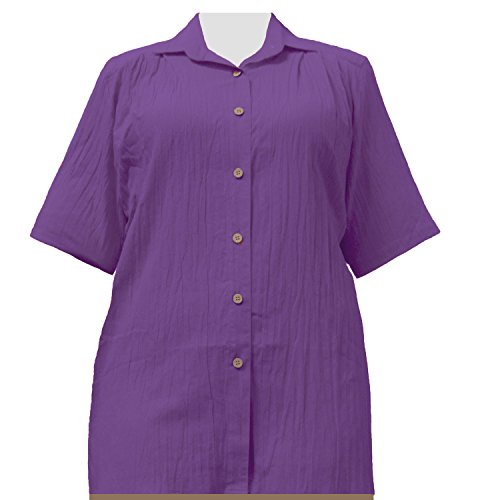 A Personal Touch Women's Plus Size Purple Gauze Short Sleeve Tunic - 2X