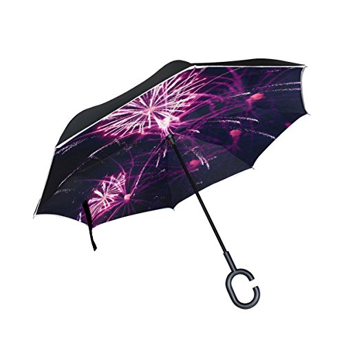 YUMOING Double Layer Inverted Fireworks Volvo Ocean Race Galway Umbrellas Reverse Folding Umbrella Windproof Uv Protection Big Straight Umbrella For Car Rain Outdoor With C-shaped Handle