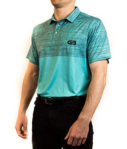 GB Golf Men's Tour Golf Polo Shirt (X-Large, Light Blue)