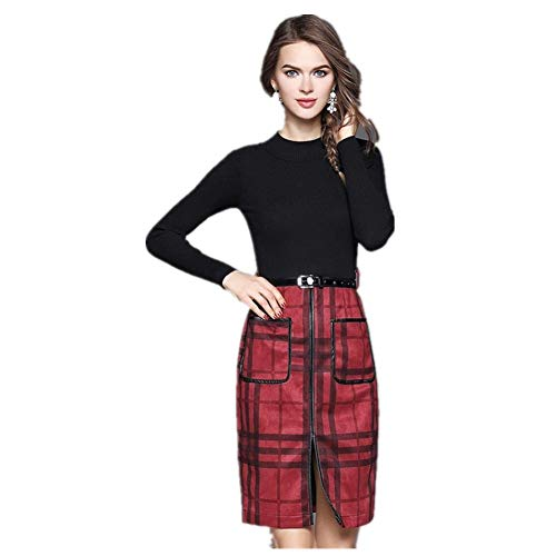 Womens Casual Dress Autumn Women's Wool Woven Plaid Skirt One-Step Dress Round Neck Long Sleeve Skirt Opening Fashion Gorgeous Soft Super Quality (Color : Red, Size : L) -