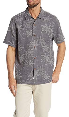 Tommy Bahama Palms Over Miami Silk Camp Shirt (Color: Steel Wool, Size L)