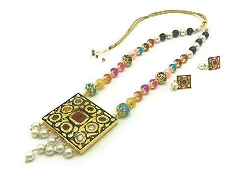Jewelry Indian Fashion - Satyam Kraft Women's Traditional Meenakari Multi Pearl Two Sided Wearable(Random Pendant),Reversible Necklace S Standard Multicolor