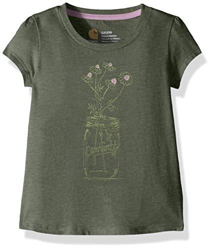 (Carhartt Girls' Big Short Sleeve Cotton Graphic Tee T-Shirt, Wild Flower (Pastel Green), M(10))