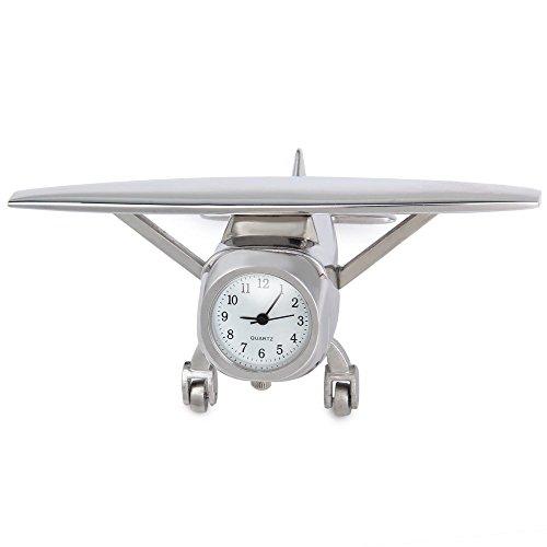 Waltham Silver Pocket Watch - Eleoption Antique Retro Decorative Guitar Desk Clock Creative Table Clocks Practical Table Desk Clock Decorative Watch for Home Office Furnish and Decorate (Airplane)