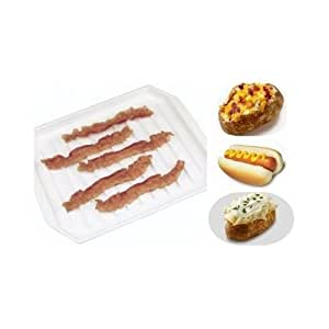 Microwave bacon tray cooker white plastic dish for Decor bacon cooker