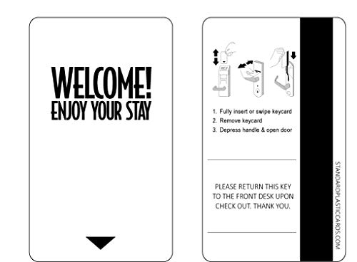 """Hotel Keycards Magnetic Stripe (Sleeve of 500 Cards) -""""Welcome! Enjoy Your Stay"""""""