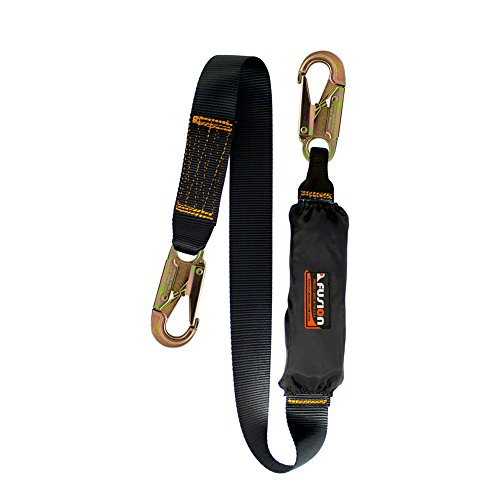 Fusion Climb 4ft 48''x1.75'' Fall Protection Safety Lanyard with Shock Pack Steel Snap Hook 23kN Black by Fusion Climb
