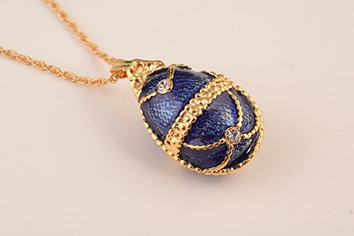 Gifts Faberge Eggs - Blue Fabrege Egg Styled Pendant Necklace Special Gift for Her