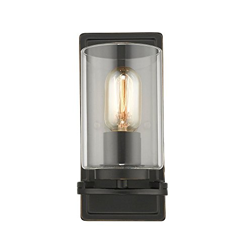 Monroe 1 Light Sconce - Golden Lighting 7041-1W BLK-CLR One Light Wall Sconce Black