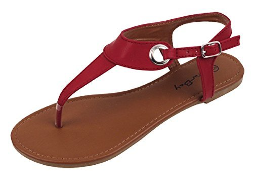 Womens Roman Gladiator Sandals Flats Thongs W/Buckle (8, Burgundy 2207)