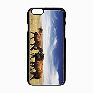 iPhone 6 Black Hardshell Case 4.7inch horse meadow speed Desin Images Protector Back Cover
