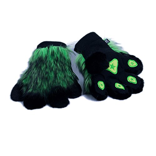 Pawstar Paw Mitts Realistic Furry Animal Hand Paws Costume Gloves Adults - Lime Green]()