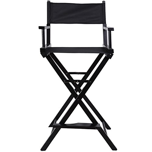Black New Foldable Professional Makeup Artist Directors Chair Wood Light Weight by totoshop