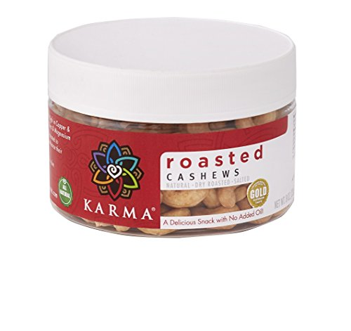 KARMA Premium Whole Cashews, Dry Roasted Salted, 8 Ounce
