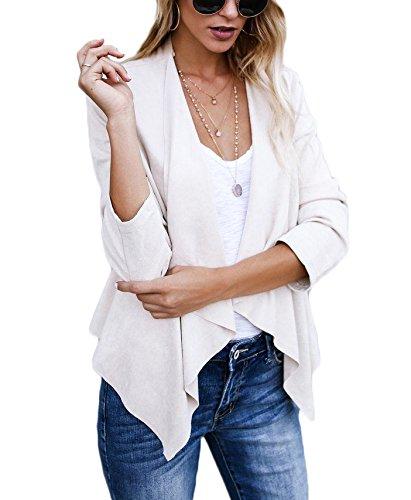 XARAZA Women's Open Front Faux Suede Jacket Outerwear (S, Beige)
