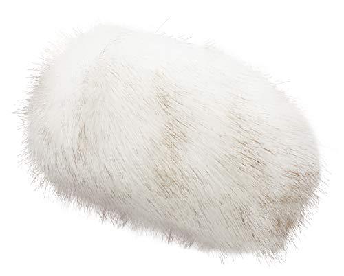 - Lovful Womens Faux Fur Stretch Earwarmer Earmuff Headband Hat,White with Golden,One Size