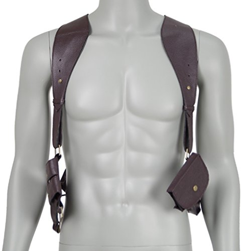 Double Shoulder Holster Costume (Costume Party Heart Nathan Drake's Deluxe Vertical PU Leather Shoulder Holster)