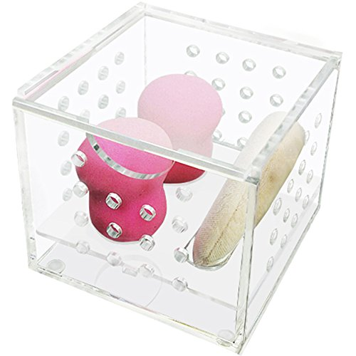 - ZZ Lighting Great Ventilation Dustproof Clear Acrylic Beauty Sponge Blenders Organizer Comestic Sponge Puff Storage(Small)