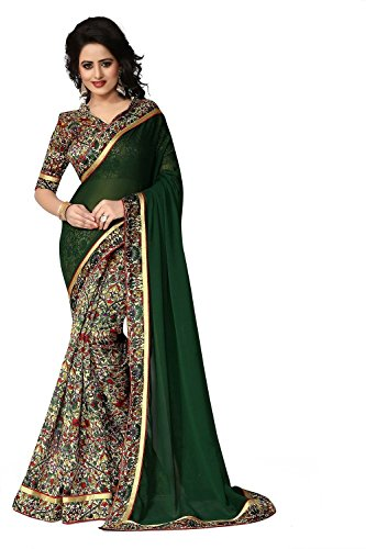 OOMPH! Women's Georgette Saree Printed Skirt & Plain Pallu Dark Green Free Size