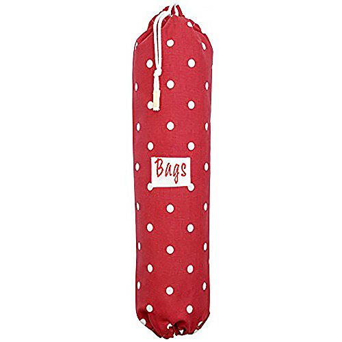 (Plastic Carrier Grocery Bag Holder Dispenser - Extra Large Red, Polka Dots - Designed, Printed & Handmade in the UK)