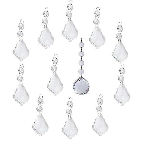 BIHRTC Pack of 11 Clear Crystal Maple Leaf Chandelier Prisms Pendants Hanging Galss Crystal Pendants Beads + 1 Pc 40mm Clear Crystal Hanging Faceted Ball (Crystal Prism Pendant)