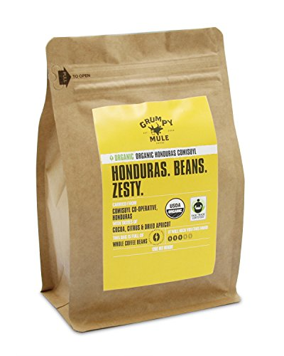 Grumpy Mule Organic Honduras Comisuyl Co-Operative Whole Bean Coffee - 12 oz (340 grams). Fair Trade Certified.