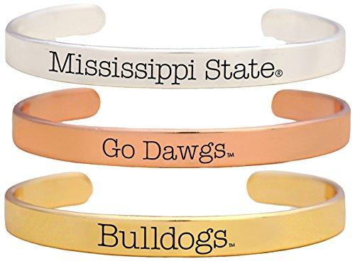 Sports Accessory Store Mississippi State Bulldogs Go Dawgs Tri Tone Bangle Bracelet Set of 3