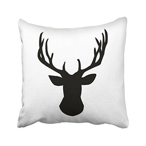 Accrocn Throw Pillow Covers Black And White Deer Head Buck Design Silhouette Pattren Cushion Decorative Pillowcases Polyester 18 x 18 Inch Square Pillowcase Hidden Zipper
