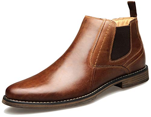U-lite Mens Men's Medfield Plain Toe Zip Fashion Boot Brown9